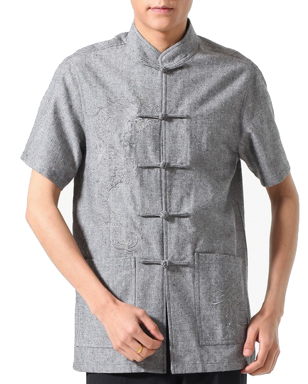 7Fairy Men's Gray Flax Classic Dragon Embroidered Chinese Martial Arts Shirt Short Sleeve