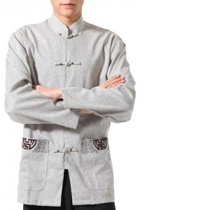 7Fairy Men's Gray Flax Classic Pockets Chinese Martial Arts Shirt Long Sleeve