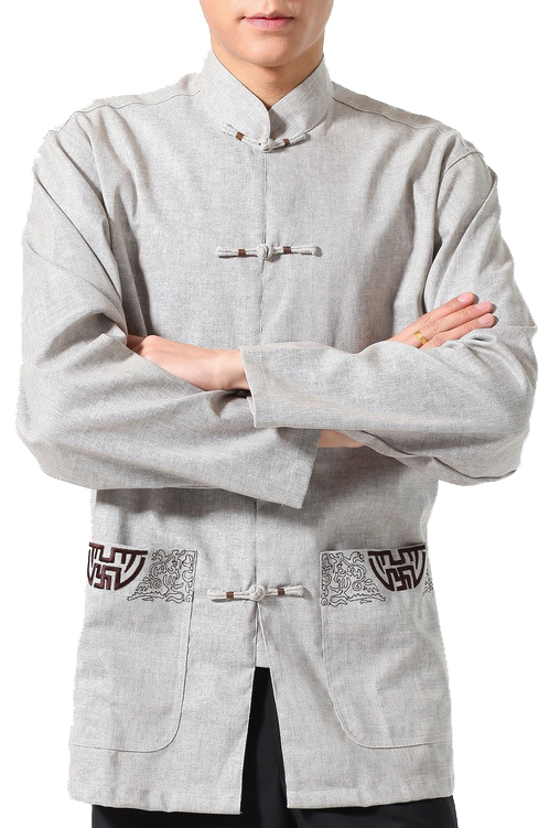 7Fairy Men's Gray Flax Classic Pockets Chinese Martial Arts Shirt Long Sleeve