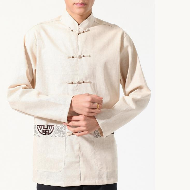 7Fairy Men's Beige Flax Classic Pockets Chinese Martial Arts Shirt Long Sleeve