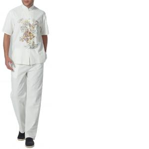 7Fairy Men's White Cotton&Flax Casual Dragon Embroidered Chinese Tai Chi Gung Fu Suits Short Sleeve