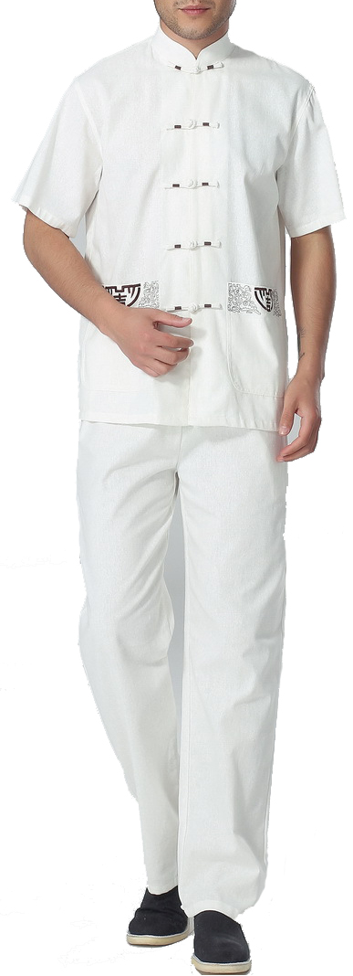 7Fairy Men's White Cotton&Flax Casual Lucky Pockets Chinese Tai Chi Gung Fu Suits Short Sleeve