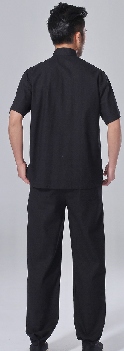 7Fairy Men's Black Cotton&Flax Casual Lucky Pockets Chinese Tai Chi Gung Fu Suits Short Sleeve