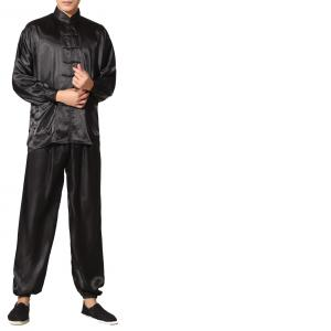 7Fairy Men's Black Silky Loose Chinese Shaolin Tai Chi Gung Fu Suits Long Sleeve