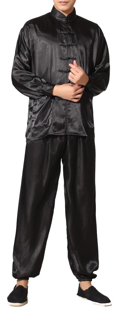 7Fairy Men's Black Silky Loose Chinese Shaolin Tai Chi Gung Fu Suits Long Sleeve