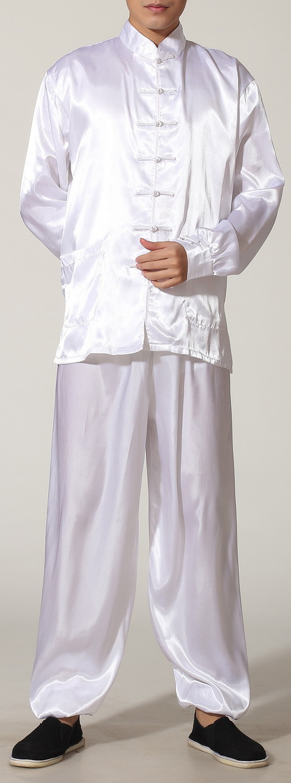7Fairy Men's White Silky Loose Chinese Shaolin Tai Chi Gung Fu Suits Long Sleeve