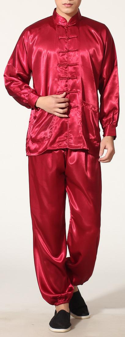 7Fairy Men's Burgundy Silky Loose Chinese Shaolin Tai Chi Gung Fu Suits Long Sleeve