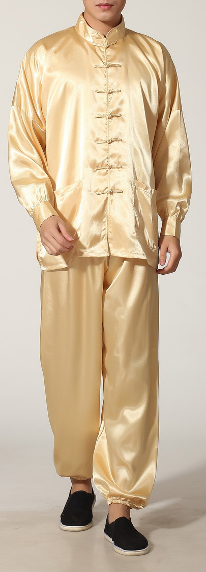 7Fairy Men's Gold Silky Loose Chinese Shaolin Tai Chi Gung Fu Suits Long Sleeve