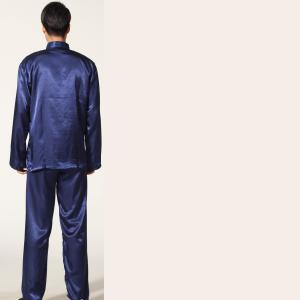 7Fairy Men's Navy BLue Silky Casual Dragon Embroidered Chinese Tai Chi Gung Fu Suits Long Sleeve