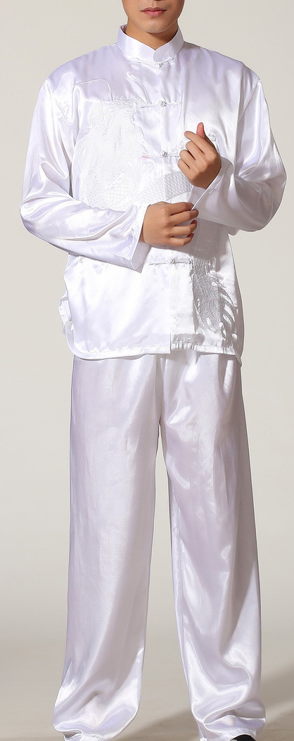 7Fairy Men's White Silky Casual Dragon Embroidered Chinese Tai Chi Gung Fu Suits Long Sleeve