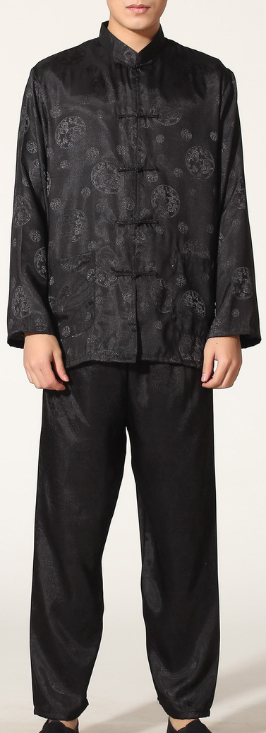 7Fairy Men's Black Silky Casual Auspicious Chinese Tai Chi Kung Fu Suits Long Sleeve