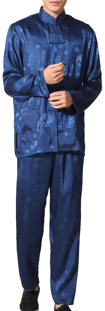 7Fairy Men's Navy Silky Casual Auspicious Chinese Tai Chi Kung Fu Suits Long Sleeve
