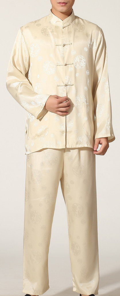 7Fairy Men's Beige Casual Auspicious Chinese Tai Chi Kung Fu Suits Long Sleeve