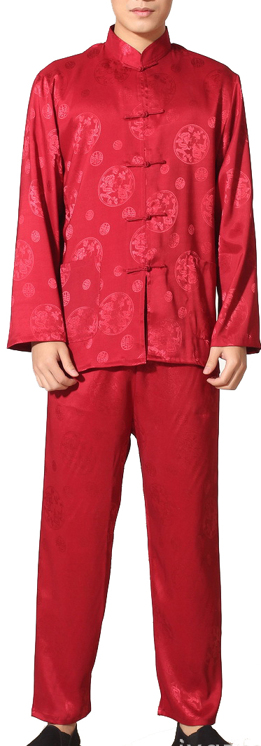 7Fairy Men's Burgundy Casual Auspicious Chinese Tai Chi Kung Fu Suits Long Sleeve