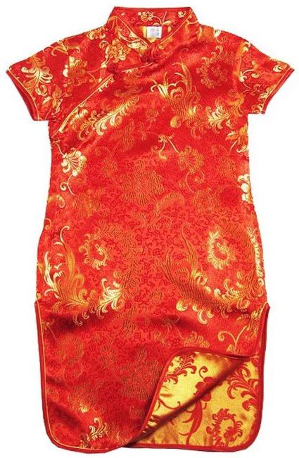 7Fairy Kids' Red Satin Cute Phoenix Tail Chinese Dress Qipao Cheongsam