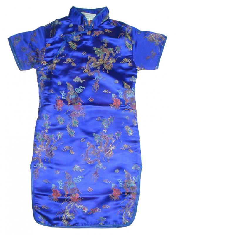 7Fairy Kids' Navy Blue Satin Traditional Dragon Chinese Dress Qipao Cheongsam