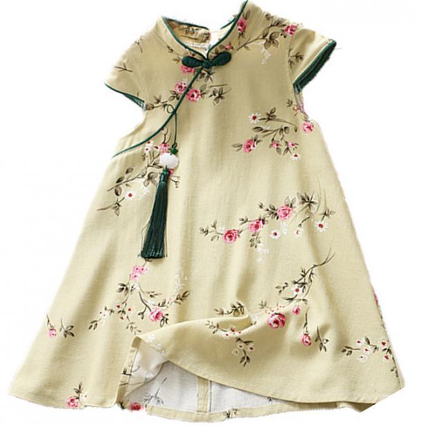 7Fairy Kids' Green Cotton Traditional Flower Chinese Dress Qipao Cheongsam