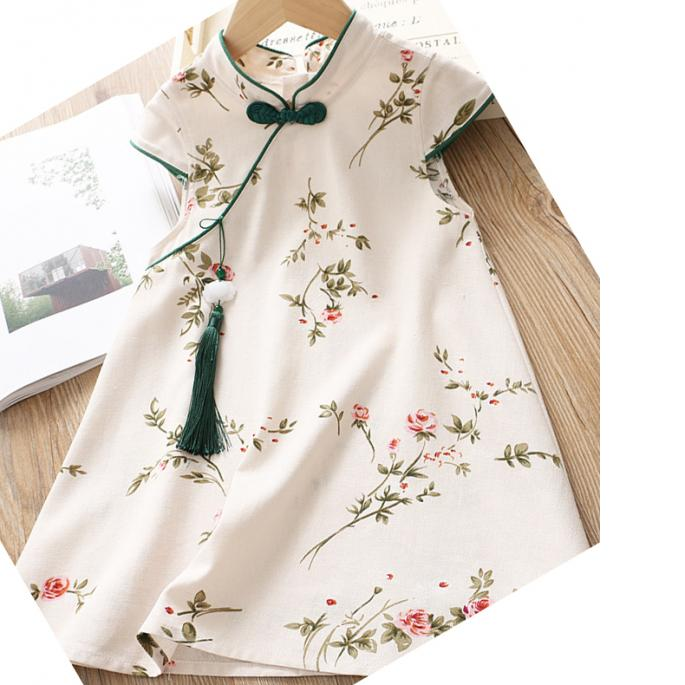 7Fairy Kids' White Cotton Traditional Flower Chinese Dress Qipao Cheongsam