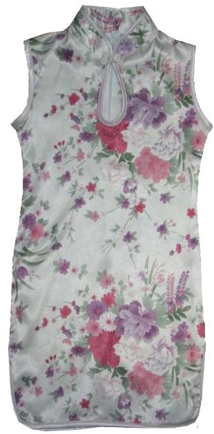 7Fairy Kids' White Silky Cute Flowers Chinese Dress Qipao Cheongsam Sleeveless