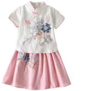 7Fairy Kids' Cute White&Pink Flax&Cotton Flowers Applique Chinese Dress Sets Cheongsam Qipao