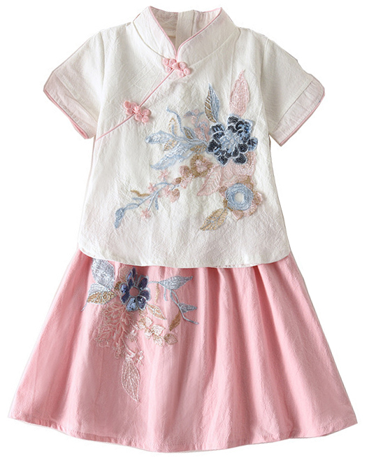 7Fairy Kids' Cute White&Pink Flax&Cotton Flowers Applique Chinese Dress Sets Cheongsam Qipao