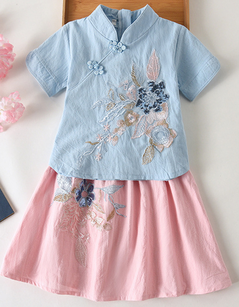 7Fairy Kids' Cute Blue&Pink Flax&Cotton Flowers Applique Chinese Dress Sets Cheongsam Qipao