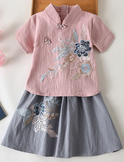 7Fairy Kids' Cute Ping&Gray Flax&Cotton Flowers Applique Chinese Dress Sets Cheongsam Qipao