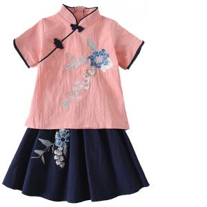 7Fairy Kids' Pink&Blue Flax&Cotton Flowers Embroidered Chinese Dress Sets Cheongsam Qipao