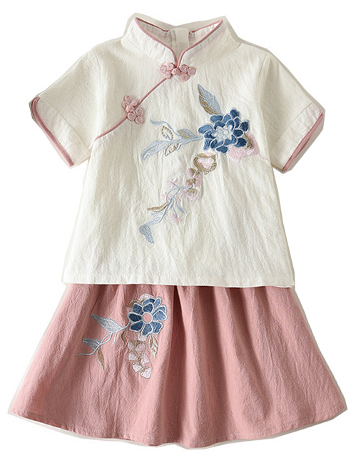 7Fairy Kids' White&Pink Flax&Cotton Flowers Embroidered Chinese Dress Sets Cheongsam Qipao