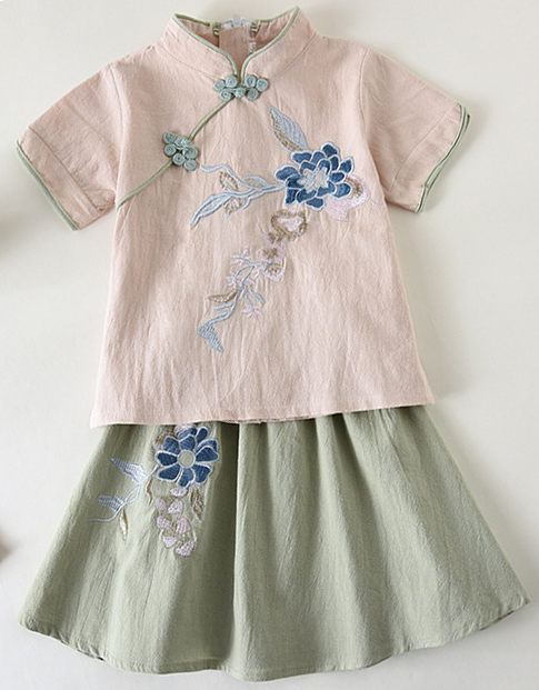 7Fairy Kids' Pink&Green Flax&Cotton Flowers Embroidered Chinese Dress Sets Cheongsam Qipao