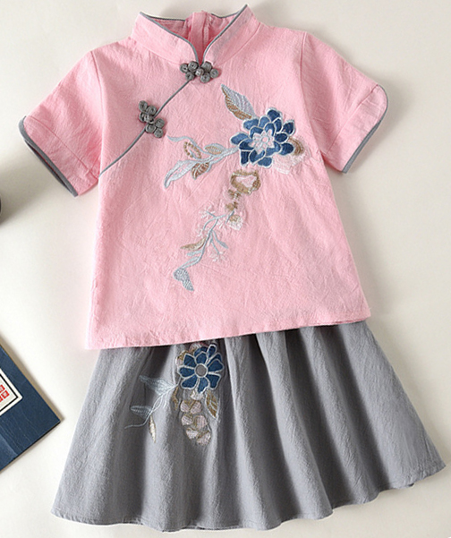 7Fairy Kids' Pink&Gray Flax&Cotton Flowers Embroidered Chinese Dress Sets Cheongsam Qipao
