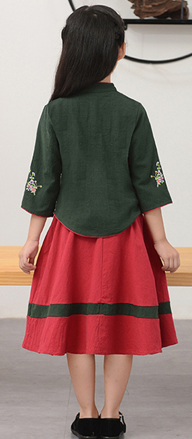 7Fairy Kids' Cute Green&Red Flax&Cotton Plum Embroidered Chinese Dress Sets Cheongsam Qipao