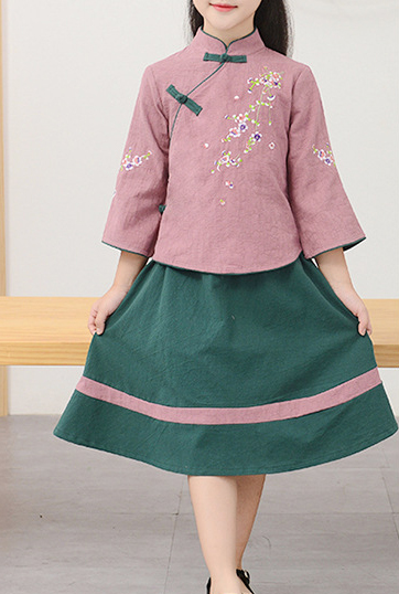 7Fairy Kids' Cute Pink&Green Flax&Cotton Plum Embroidered Chinese Dress Sets Cheongsam Qipao