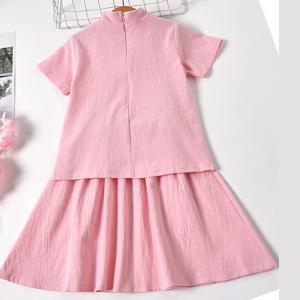 7Fairy Kids' Cute Pink Flax&Cotton Rabbit Embroidered Chinese Dress Sets Cheongsam Qipao