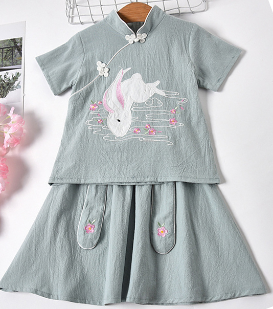 7Fairy Kids' Cute Gray Flax&Cotton Rabbit Embroidered Chinese Dress Sets Cheongsam Qipao