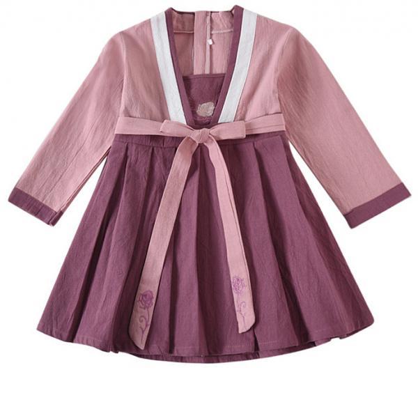 7Fairy Kids' Fancy Purple Flax&Cotton Han Dynasty Chinese Dress Cheongsam Qipao