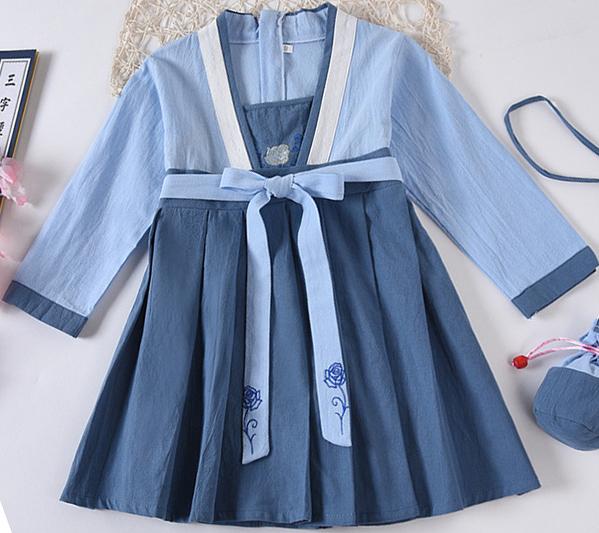 7Fairy Kids' Fancy Blue Flax&Cotton Han Dynasty Chinese Dress Cheongsam Qipao