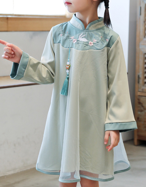7Fairy Kids' Fancy Blue Han Dynasty Embroidered Chinese Dress Cheongsam Qipao Long Sleeve
