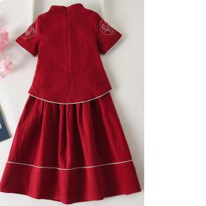 7Fairy Kids' Pretty Red Flax&Cotton Embroidered Chinese Dress Sets Cheongsam Qipao