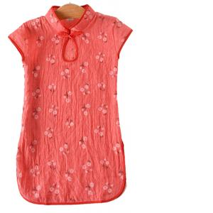 7Fairy Kids' Red Cotton Traditional Flower Chinese Keyhole Dress Qipao Cheongsam