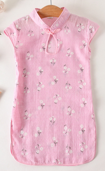 7Fairy Kids' Pink Cotton Traditional Flower Chinese Keyhole Dress Qipao Cheongsam