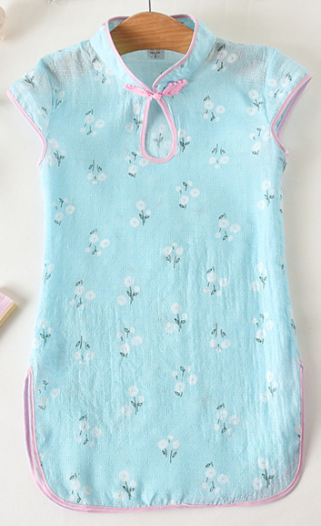 7Fairy Kids' Blue Cotton Traditional Flower Chinese Keyhole Dress Qipao Cheongsam
