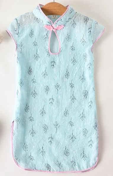 7Fairy Kids' Blue Cotton Traditional Tree Chinese Keyhole Dress Qipao Cheongsam