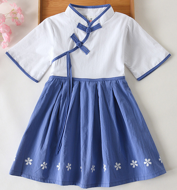 7Fairy Kids' Fancy White&Blue Flax&Cotton Han Dynasty Chinese Dress Sets Cheongsam Qipao