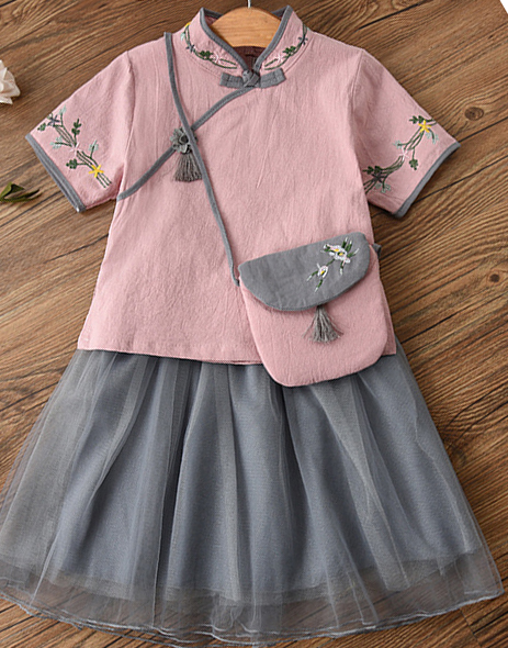 7Fairy Kids' Fancy Pink&Blue Flax&Cotton Han Dynasty Embroidered Chinese Dress Sets