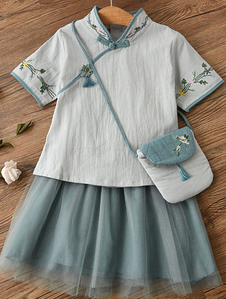7Fairy Kids' Fancy Blue Flax&Cotton Han Dynasty Embroidered Chinese Dress Sets