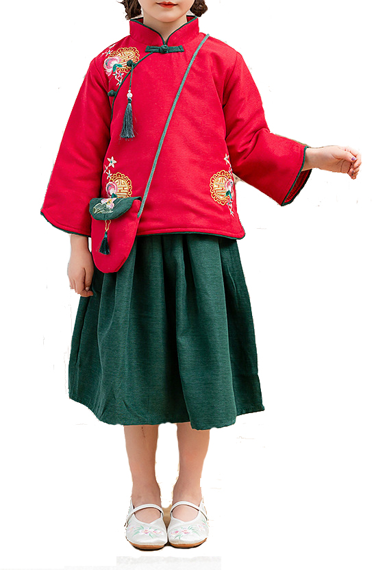7Fairy Kids' Fancy Red&Green Winter Cotton Quilted Embroidered Chinese Dress Set Cheongsam Qipao