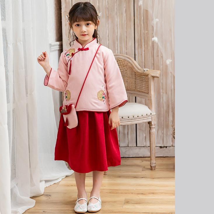 7Fairy Kids' Fancy Pink&Red Winter Cotton Quilted Embroidered Chinese Dress Set Cheongsam Qipao