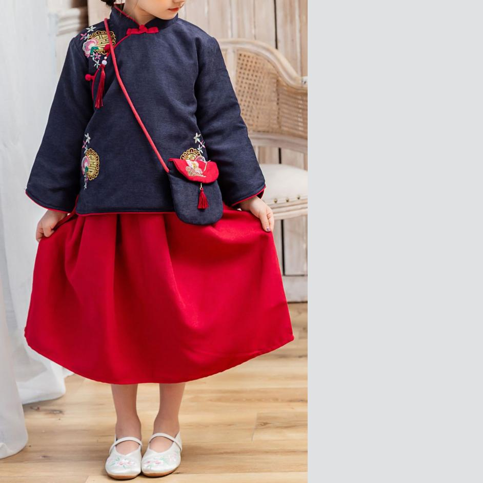 7Fairy Kids' Fancy Blue&Red Winter Cotton Quilted Embroidered Chinese Dress Set Cheongsam Qipao