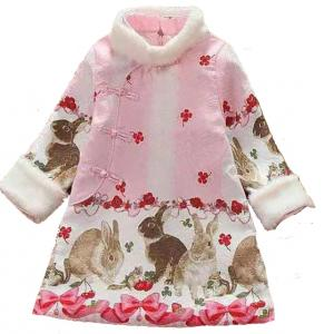 7Fairy Kids' Cute Pink Winter Cotton Quilted Rabbit Chinese Dress Cheongsam Qipao
